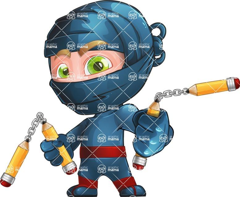 Ninja Warrior Cartoon Vector Character AKA Toshi - Fight