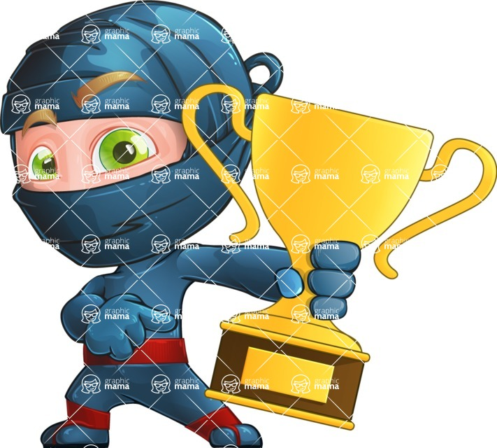 Ninja Warrior Cartoon Vector Character AKA Toshi - Champion