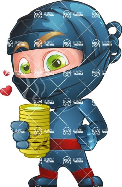 Ninja Warrior Cartoon Vector Character AKA Toshi - Tea