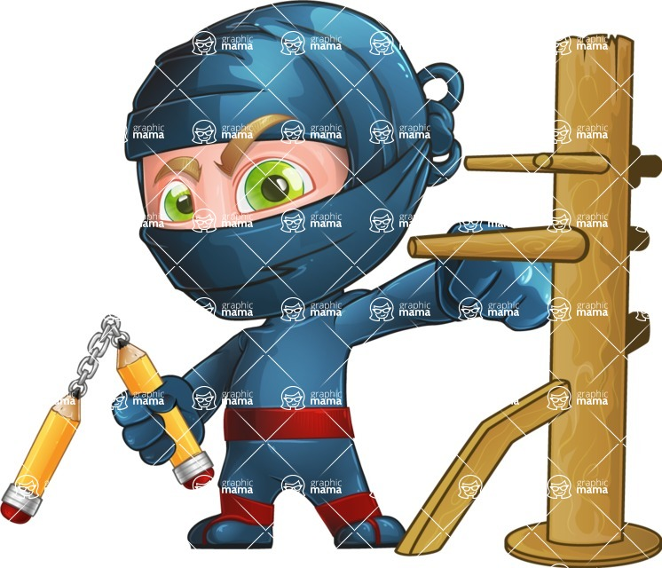 Ninja Warrior Cartoon Vector Character AKA Toshi - Training