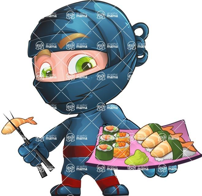 Ninja Warrior Cartoon Vector Character AKA Toshi - Sushi
