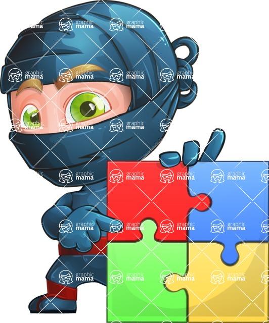 Ninja Warrior Cartoon Vector Character AKA Toshi - Puzzle