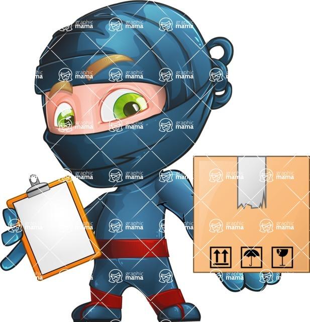 Ninja Warrior Cartoon Vector Character AKA Toshi - Delivery 1