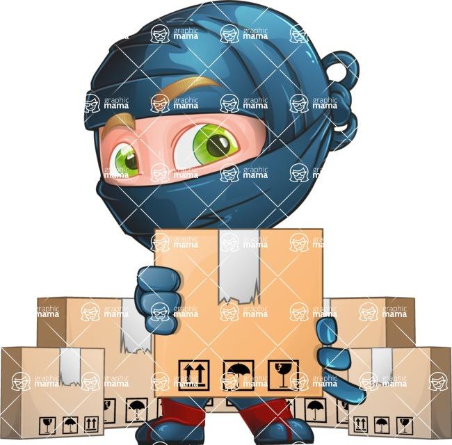 Ninja Warrior Cartoon Vector Character AKA Toshi - Delivery 2