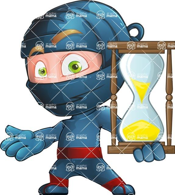 Ninja Warrior Cartoon Vector Character AKA Toshi - Time is Up