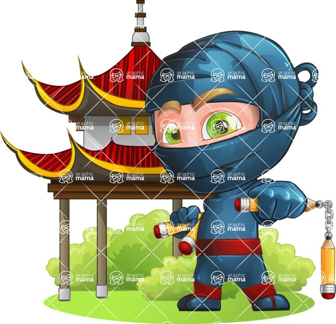 Ninja Warrior Cartoon Vector Character AKA Toshi - Temple