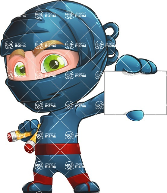 Ninja Warrior Cartoon Vector Character AKA Toshi - Sign 1