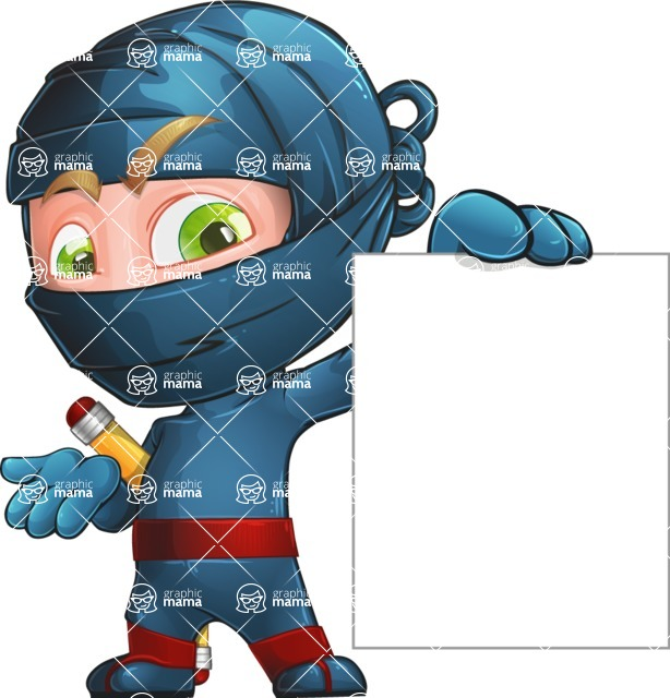 Ninja Warrior Cartoon Vector Character AKA Toshi - Sign 2
