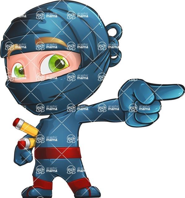 Ninja Warrior Cartoon Vector Character AKA Toshi - Point 1