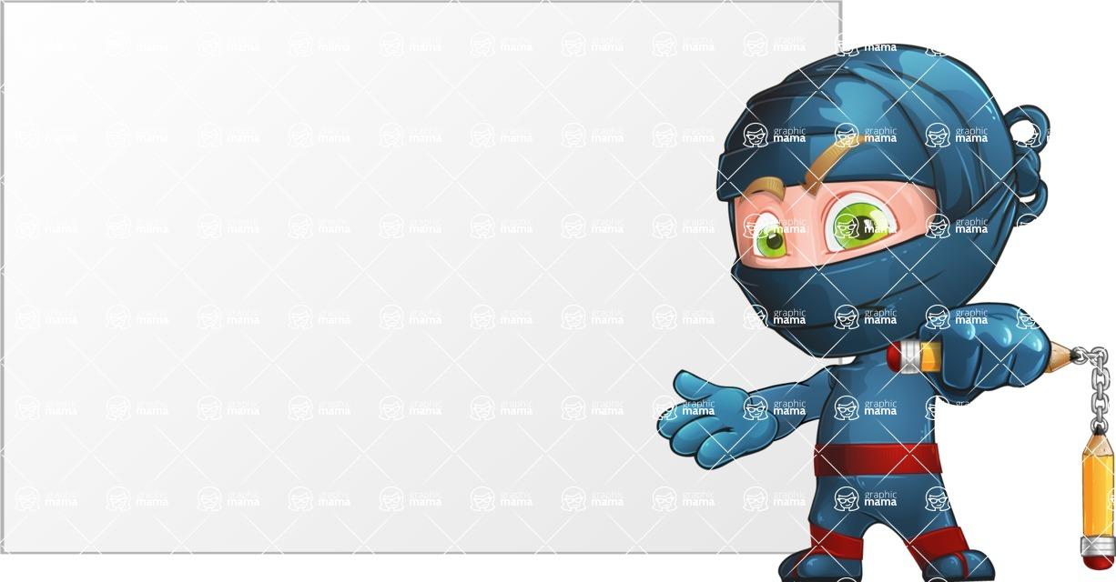 Ninja Warrior Cartoon Vector Character AKA Toshi - Presentation 2