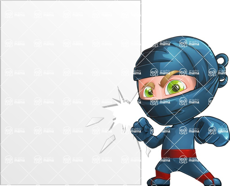 Ninja Warrior Cartoon Vector Character AKA Toshi - Presentation 3
