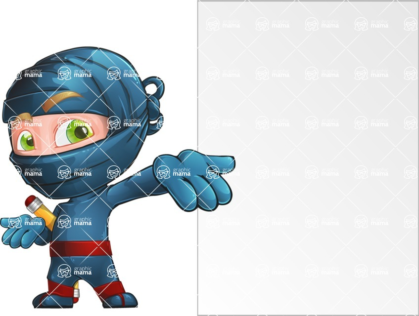 Ninja Warrior Cartoon Vector Character AKA Toshi - Presentation 5