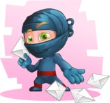 Ninja Warrior Cartoon Vector Character AKA Toshi - Shape 6