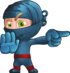 Ninja Warrior Cartoon Vector Character AKA Toshi - Direct Attention