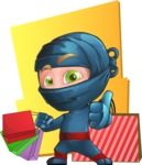 Ninja Warrior Cartoon Vector Character AKA Toshi - Shape 10