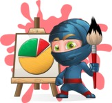 Ninja Warrior Cartoon Vector Character AKA Toshi - Shape 12