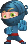 Ninja Warrior Cartoon Vector Character AKA Toshi - Stop