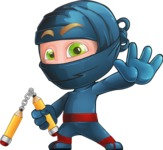 Ninja Warrior Cartoon Vector Character AKA Toshi - Hello