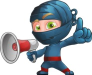 Ninja Warrior Cartoon Vector Character AKA Toshi - Loudspeaker