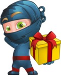 Ninja Warrior Cartoon Vector Character AKA Toshi - Gift