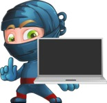 Ninja Warrior Cartoon Vector Character AKA Toshi - Laptop 1