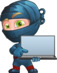 Ninja Warrior Cartoon Vector Character AKA Toshi - Laptop 2
