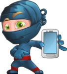 Ninja Warrior Cartoon Vector Character AKA Toshi - Smartphone 1