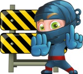 Ninja Warrior Cartoon Vector Character AKA Toshi - Under Construction 2