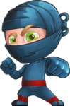 Ninja Warrior Cartoon Vector Character AKA Toshi - Determination