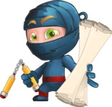 Ninja Warrior Cartoon Vector Character AKA Toshi - Plans