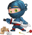 Ninja Warrior Cartoon Vector Character AKA Toshi - Repair