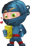 Ninja Warrior Cartoon Vector Character AKA Toshi - Tea