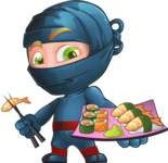 Ninja Warrior Cartoon Vector Character AKA Toshi - Sushi