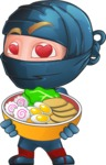 Ninja Warrior Cartoon Vector Character AKA Toshi - Ramen
