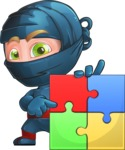 Ninja Warrior Cartoon Vector Character AKA Toshi - Puzzle