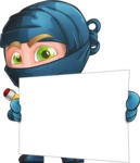 Ninja Warrior Cartoon Vector Character AKA Toshi - Sign 3