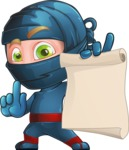 Ninja Warrior Cartoon Vector Character AKA Toshi - Sign 6