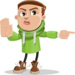 Boy with Hoodie Cartoon Vector Character AKA Hoody Cody - Direct Attention 1
