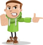 Boy with Hoodie Cartoon Vector Character AKA Hoody Cody - Direct Attention 2