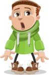 Boy with Hoodie Cartoon Vector Character AKA Hoody Cody - Stunned