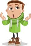Boy with Hoodie Cartoon Vector Character AKA Hoody Cody - Shocked