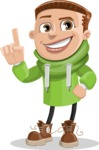 Boy with Hoodie Cartoon Vector Character AKA Hoody Cody - Attention
