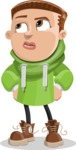 Boy with Hoodie Cartoon Vector Character AKA Hoody Cody - Roll Eyes