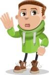 Boy with Hoodie Cartoon Vector Character AKA Hoody Cody - Goodbye
