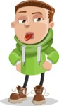 Boy with Hoodie Cartoon Vector Character AKA Hoody Cody - Making Face