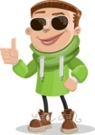 Boy with Hoodie Cartoon Vector Character AKA Hoody Cody - Sunglasses
