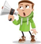Boy with Hoodie Cartoon Vector Character AKA Hoody Cody - Loudspeaker