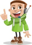 Boy with Hoodie Cartoon Vector Character AKA Hoody Cody - Support 2