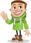 Boy with Hoodie Cartoon Vector Character AKA Hoody Cody - Wave
