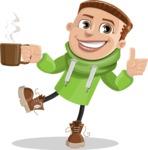 Boy with Hoodie Cartoon Vector Character AKA Hoody Cody - Coffee